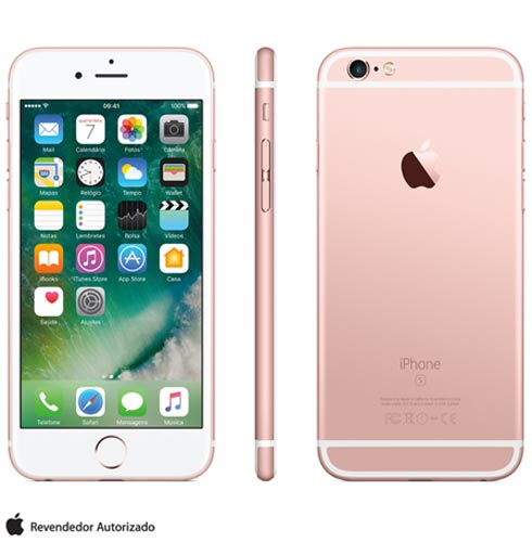 Iphone 6s Rosa Dourado, Com Tela de 4.7 4g, 128 Gb, e Camera de 12 Mp - Mkqw2br/a - Aemkqw2brarsa Bivolt